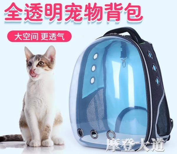 貓包外出籠子便攜太空貓咪艙手提裝包袋大號透明雙肩書包寵物背包『摩登大道』