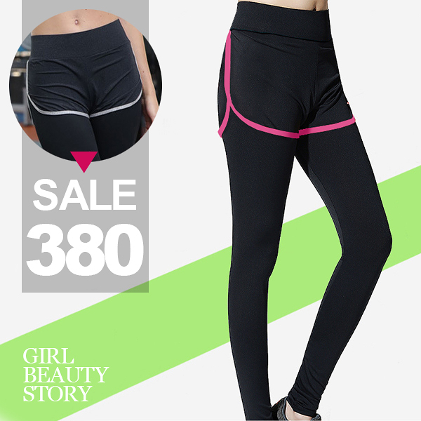 SISI【P6056】夜跑運動穿搭假兩件撞色滾邊緊身瑜珈褲跑步健身速乾內搭長褲