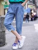 女童牛仔褲夏季裝19新款洋氣12-15歲中大兒童七分褲薄款馬褲短褲