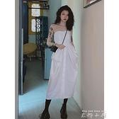 2021春夏設計感白色抹胸裙女性感露背長款洋裝網紅同款修身顯瘦