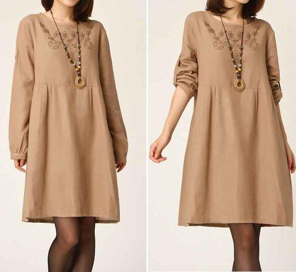 寬鬆繡花棉麻長袖連身裙