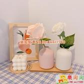 【買一送一】風網紅創意桌面插花陶瓷小眾白色小花瓶干花臥室擺件【樂淘淘】