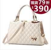 【現貨】手提包 新款立體菱格蝴蝶結側背包/斜背包  女包包 hd1970  交換禮物