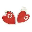【奢華時尚】GUCCI Interlocking G 紅色琺瑯愛心925純銀耳環墜飾