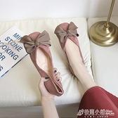 夏平底方頭單鞋女淺口大蝴蝶結甜美軟底豆豆鞋上班工作鞋黑色 秋季新品
