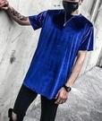 FINDSENSE品牌 時尚潮流 型男 酷 素面 側拉鏈 短袖T恤 特色短T