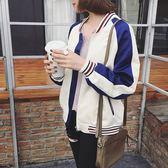 秋裝新品女裝正韓撞色拼接螺紋立領長袖棒球服短外套學生夾克上衣