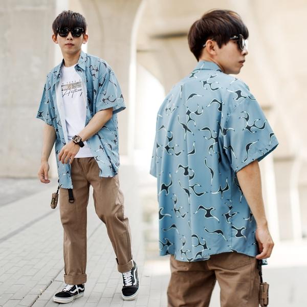 襯衫 和風火焰圖騰寬鬆版涼爽飄飄短袖襯衫【NB1031J】
