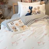 條紋紅鶴 S2單人床包雙人薄被套3件組  四季磨毛布 北歐風 台灣製造 棉床本舖