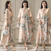 旗袍/洋裝  新品旗袍復古長裙子民族風氣質大碼連身裙印花圖案中袖