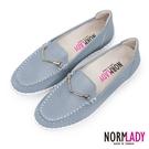 女鞋 休閒鞋 懶人鞋 MIT台灣製 真皮鞋 品味馬銜釦磁石厚底氣墊球囊鞋(天灰藍)—Normlady 諾蕾蒂