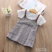 童裝女童洋裝夏裝2020新款洋裝韓版假兩件兒童吊帶短袖寶寶洋裝子 米娜小鋪