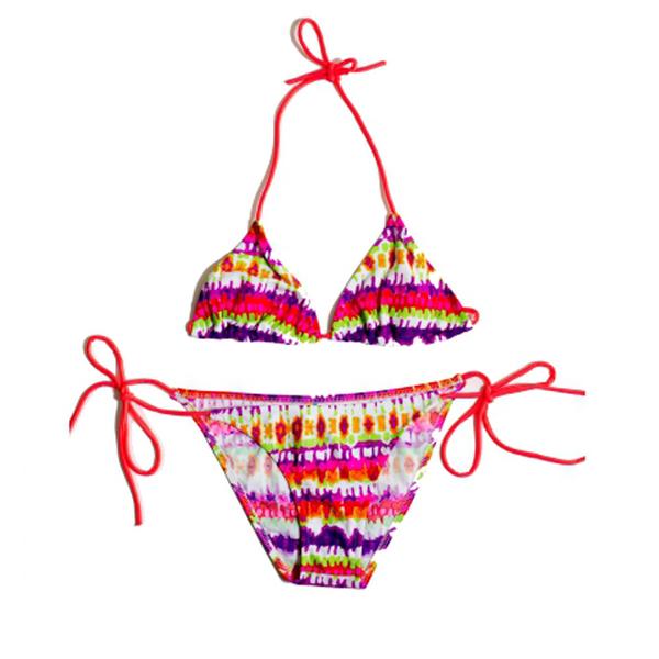 【Guuday】三角比基尼 Bikini 墾丁春吶 派對 海邊 戲水 泡湯 泳衣 內衣 *迷幻橘紅*