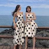 無袖洋裝很仙的法式高腰智熏裙夏款連身裙2020新款氣質無袖大波點吊帶裙女 JUST M