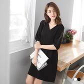 OB嚴選《DA4350-》素色鏤空蕾絲七分袖V領傘襬洋裝.2色--適 S~L