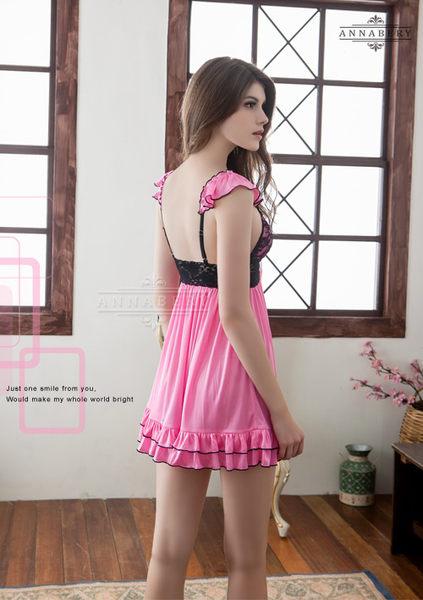 (特價) 大尺碼 Annabery粉莓紅黑蕾絲甜美柔緞睡衣  (OS小舖)