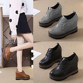 高跟皮鞋隱形內增高女鞋10cm厚底新款百搭超高跟繫帶坡跟單鞋黑色皮鞋 快速出貨