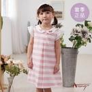 【南紡購物中心】【Annys安妮公主】玫瑰蔷薇小圓領春夏款鏤空造型袖橫條洋裝1164 粉紅06