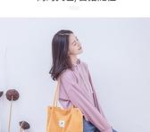 帆布包 帆布包女單肩帆布袋學生韓版原宿ulzzang慵懶風ins手提購物袋SS型 交換禮物
