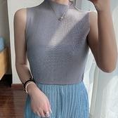 無袖T恤-褶皺純色高領修身高彈力女上衣2色73zs10【巴黎精品】