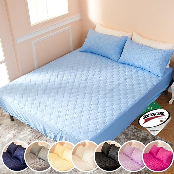 ∥加大床包∥透氣防潑水技術處理床包式保潔墊 MIT台灣精製《淺藍》