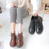 馬丁靴女英倫風百搭平底女鞋學生正韓短靴鞋子 【好康八八折】