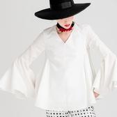 喇叭長袖上衣-時尚V領傘狀純色女裝73ll66【巴黎精品】
