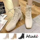 短靴.韓風方頭綁帶粗跟踝靴