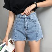 夏裝女裝韓版百搭寬鬆闊腿褲不規則毛邊高腰牛仔褲直筒褲短褲顯瘦