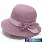 遮陽帽 中老年人春秋天帽子女媽媽遮陽帽老人盆帽奶奶布帽夏天大檐漁夫帽 星河光年
