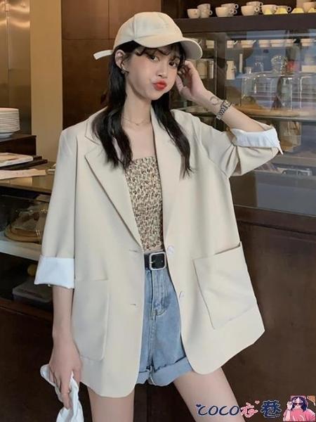西裝外套 2021夏季新款氣質休閒時尚百搭小西服網紅ins寬鬆薄款西裝外套女 coco