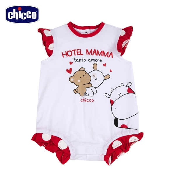 chicco-小乳牛-大圓點荷葉袖兔裝