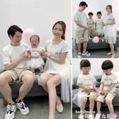 親子裝親子裝夏連身裙一家三口四口洋氣哺乳裝新款嬰兒連體母子裝母女裝 新品