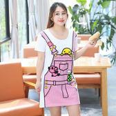 中大尺碼~可愛背帶裙印花短袖洋裝(XL~4XL)