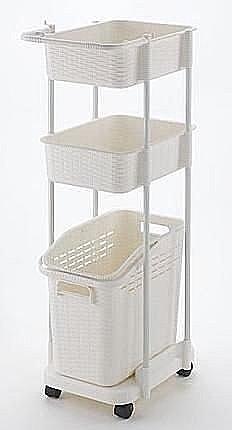 日本製*日本知名品牌 RICHELL 三層洗衣籃(白)