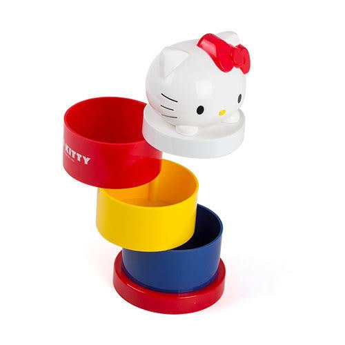 《Sanrio》HELLO KITTY可愛趴趴桌上型三層旋轉收納盒★funbox生活用品★_RD00500