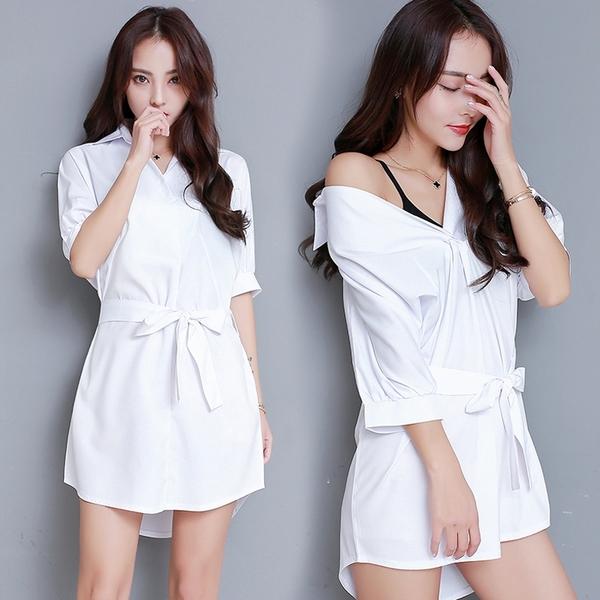 【限時下殺79折】襯衫 白色襯衫裙V領學院風中長版收腰顯瘦打底內搭襯衣