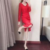 正韓修身顯瘦V領蕾絲洋裝連身裙 巴黎时尚生活