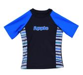 【 APPLE 】蘋果牌泳裝降價↘特賣~男童藍配色雙邊條紋短袖泳衣 NO.109204