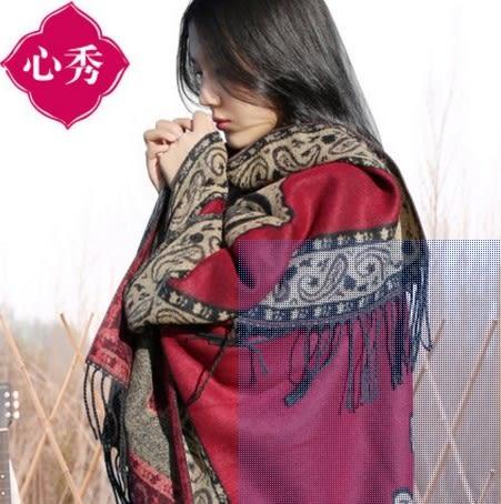 [協貿國際]  女士禦寒保暖披肩加厚尼泊爾風情披肩圍巾 (1入)