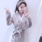 秋冬季加長款法蘭絨睡袍女士成人浴衣裕袍加厚保暖珊瑚絨浴袍睡衣