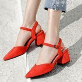 絨面后空帶尖頭淺口粗跟中跟方跟女士包頭涼鞋女鞋桔紅色黑色 蓓娜衣都