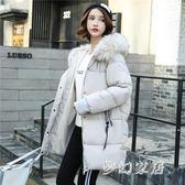 長版連帽外套 新款羽絨棉衣女加厚外套女面包服冬季中長款 FR2246『夢幻家居』
