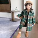 英倫復古格紋小圓翻領長袖大衣外套 大衣 外套 厚外套 女童 橘魔法 現貨 兒童 中童 童裝