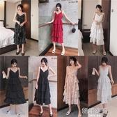 連身裙 女裝2020年新款韓版法式v領設計感吊帶蛋糕裙波點碎花裙洋裝子