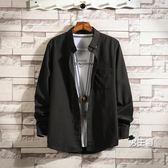 長袖襯衫 秋季胖子男士加肥大碼寸衫外套正韓百搭白色襯衣潮裝上衣