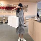 夏季新款復古寬鬆條紋無袖背心t恤裙氣質顯瘦個性長款連身裙女裝 曼慕衣櫃