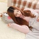 卡通呆呆貓咪抱枕被子兩用靠墊珊瑚絨汽車辦公室空調被靠枕毯枕頭【尾牙精選】