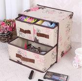 收納盒兩層三抽創意桌面儲物抽屜式化妝品收納箱雜物整理箱yi 交換禮物