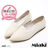 紳士鞋真皮日式女伶和風尖頭低跟包鞋 (MIT)